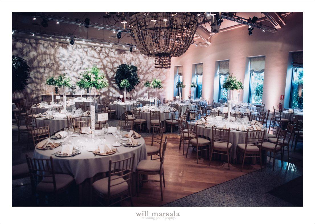 interior del comedor en una boda de la quinta del jarama